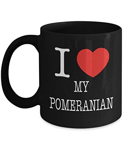 I Heart My Pomeranian Dog Lover Acrylic Coffee Mug Black 11oz