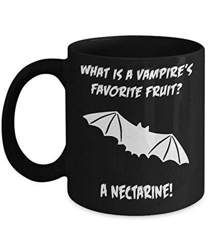 What Is A Vampires Favorite Fruit A Nectarine Funny Halloween Bad Joke Black Acrylic Coffee Mug 11oz