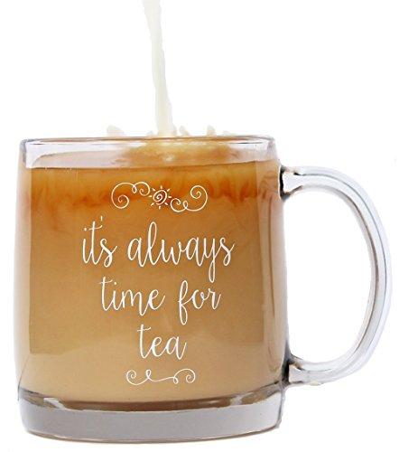 A Little Bird Its Always Time for Tea Premium Glass Mug for Tea Lovers 13 oz