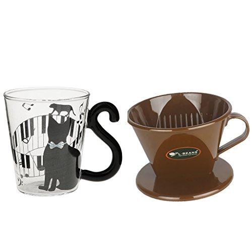 MonkeyJack Filter Cup Coffee Dripper Cat Glass Mug Tea Milk Mug Reusable Portable for Camping Caravanning Fishing ect