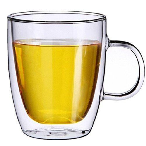 Moyishi Double Walled Clear Glass Borosilicate Heatproof Glass Mug Tea Cup350ml