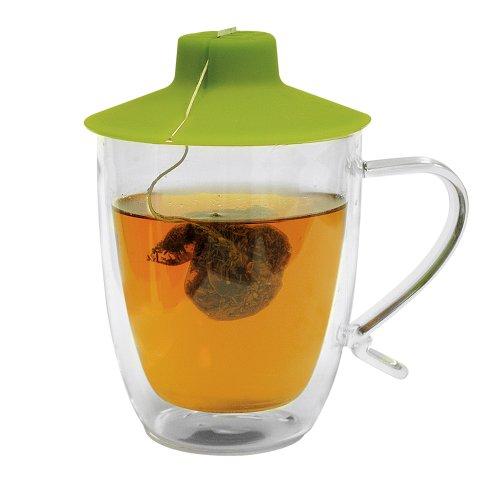 Primula Double Wall Glass Mug and Tea Bag Buddy – Temperature Safe 16 oz Clear Glass Mug – 100 Food Grade Green Silicone Tea Bag Buddy – Dishwasher and Microwave Safe Set