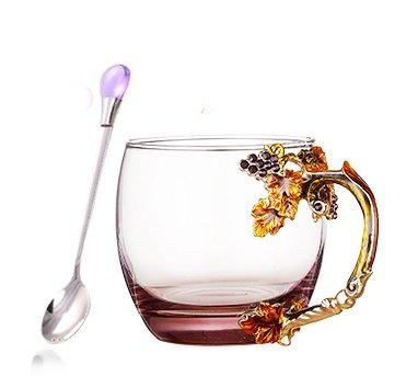 Luxury Handmade Golden Harvest Glass Tea Cup Coffee Mug Cups Spoon with gift box 112 oz