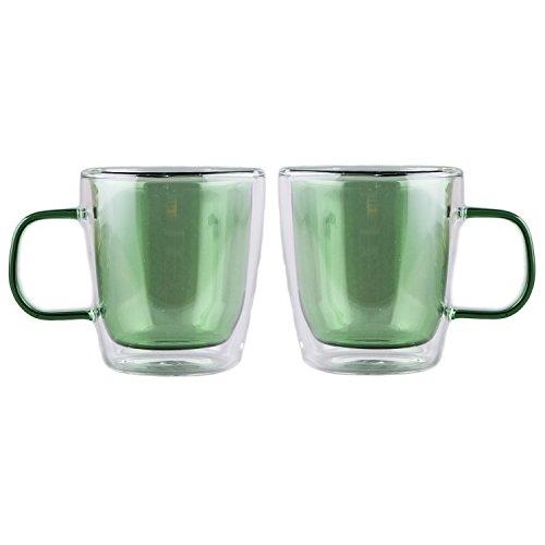 Pyrex Hand Blown Reusable Double Wall Coffee Tea Glass Cup Mug Heavy 10 OunceSet of 2 Green