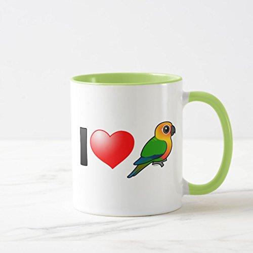 Zazzle I Love Jenday Conures Frosted Glass Coffee Mug Lime Combo Mug 11 oz