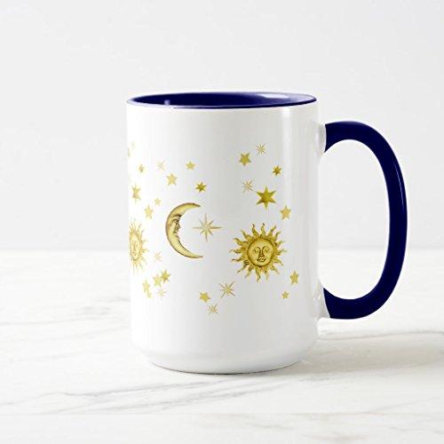Zazzle Sun Moon Stars Frosted Glass Coffee Mug Navy Blue Combo Mug 15 oz