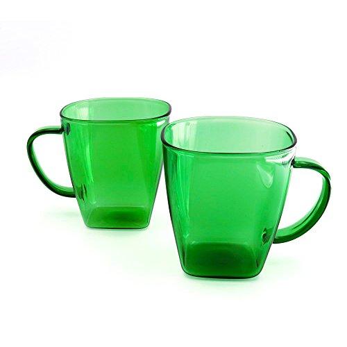 Tianyuan Glass Tea Cup Coffee Mug 10 Ounce Set of 2 Green