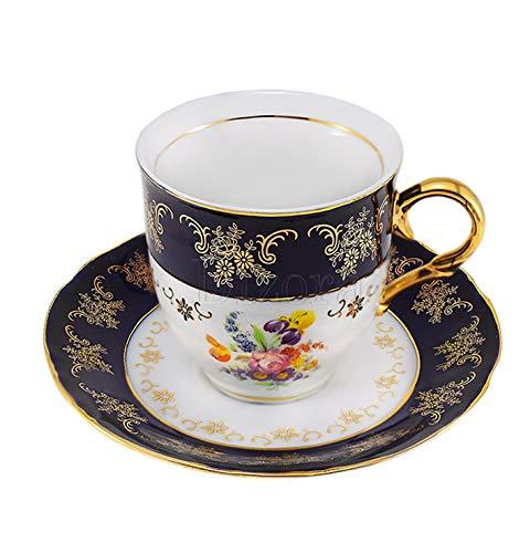 Euro Porcelain Premium 12-pc Dark Cobalt Blue Espresso Cappuccino Cup Set Vintage Design Floral Pattern Original Czech Tableware 24K Gold-Plated Ornament Service for 6