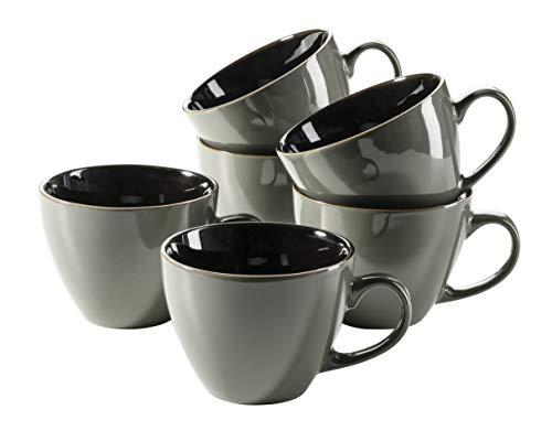 MÄSER 931518 Scuro Cappuccino Cups Set Ceramic for 6 People Jumbo Coffee Cups 450 ml Grey Stoneware