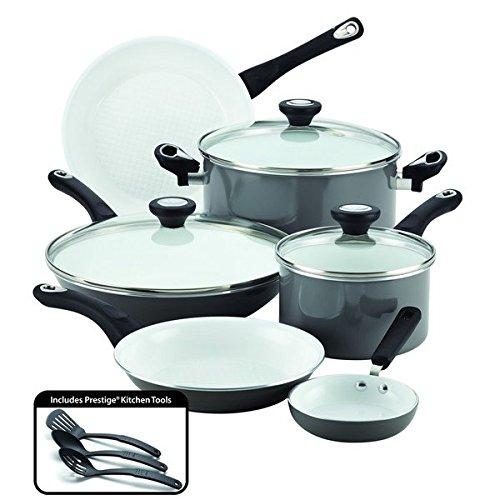 Ultimate PURECOOKtm Grey Ceramic Nonstick Cookware 12-Piece Cookware Set