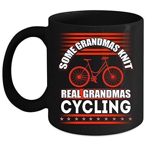 Some Grandmas Knit Coffee Mug Real Grandmas Cycling Coffee Cup Coffee Mug 15oz - Black