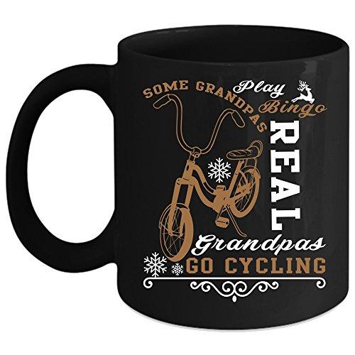 Some Grandpas Play Bingo Coffee Mug Real Grandpas Go Cycling Coffee Cup Coffee Mug 11oz - Black