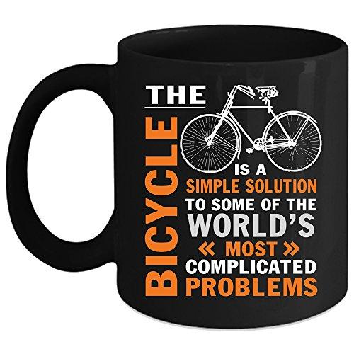 The Bicycle Is A Simple Solution Coffee Mug Cool Cycling Coffee Cup Coffee Mug Black