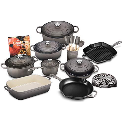 Le Creuset 20-piece Signature Cast Iron Cookware Set Oyster