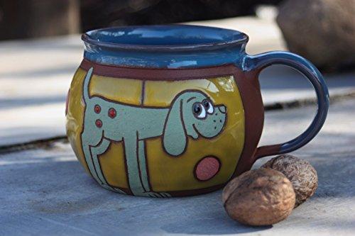 Dog mug Pottery mug Handmade coffee mug with dog
