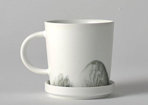 Pangu Porcelain 【Ink and wash】4-Piece-Set Chinese Ink Design Handmade Coffee Mug 8 OZ Service for 2