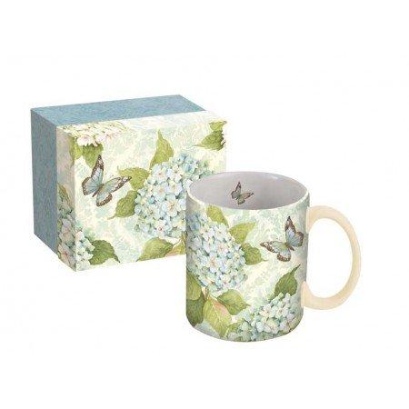 LANG - 14 oz Ceramic Coffee Mug - Blue Hydrangea Artwork by Susan Winget