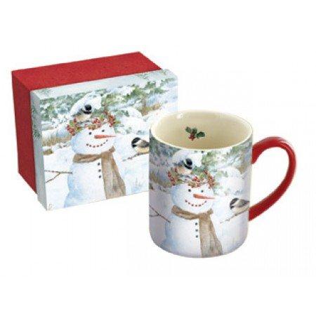 LANG - 14 oz Ceramic Coffee Mug - Chickadee Snowman Artwork by Jane Shasky