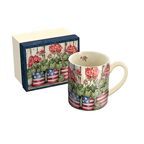 LANG - 14 oz Ceramic Coffee Mug - Patriotic Flowers Art by Susan Winget - Geraniums American Flag