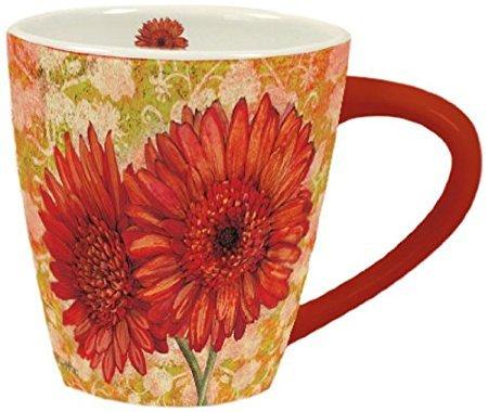 LANG - Orange Blooms - 17 Oz Ceramic Cafe Mug - Art by Tim Coffey