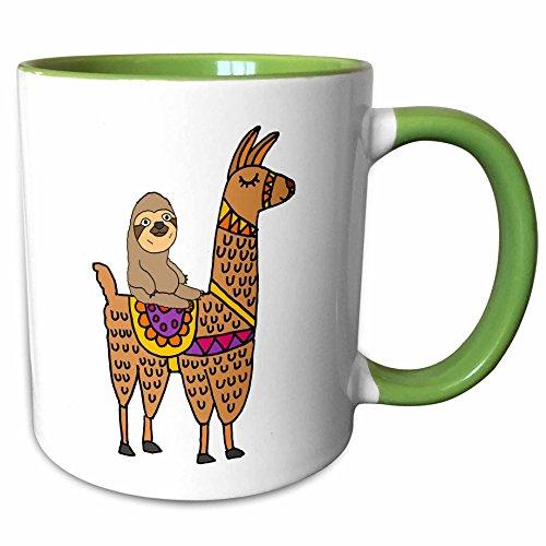 3dRose All Smiles Art Animals - Funny Cute Sloth Riding Llama Cartoon - 11oz Two-Tone Green Mug mug_270098_7