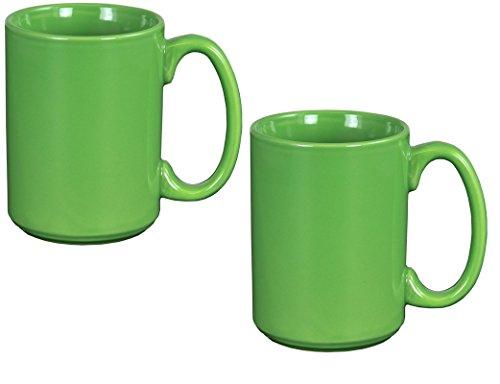 El Grande Style Large Ceramic Coffee Mug With Big Handle Green 15 oz Pack of 2