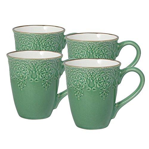 Pfaltzgraff French Lace Green Mugs Set of 4