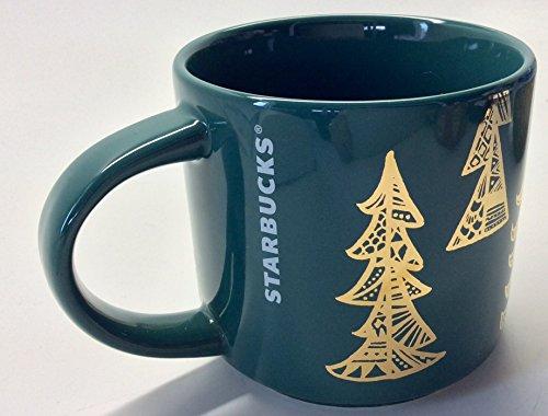 Starbucks Stacking 2015 Green Holiday Mug 14 Fl Oz Gold Tree Design