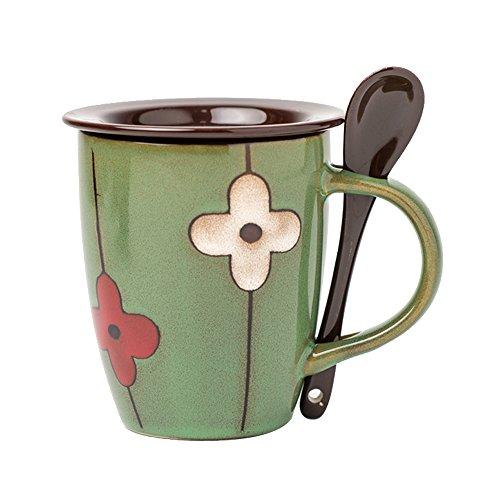 Verdental Retro Ceramic Drum Shaped Coffee Mug with Lid and Spoon Tea Cup Mug Gift Box Green