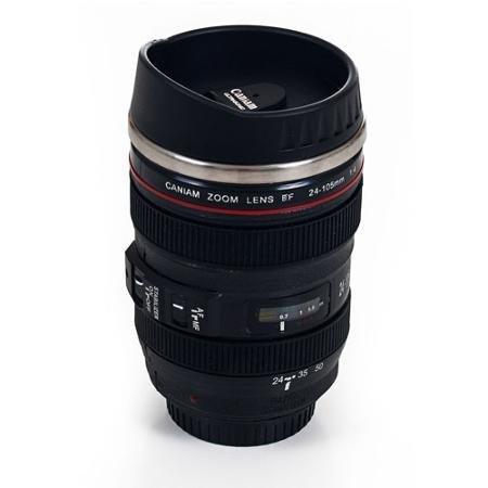 Whetstone Camera Lens 12 oz Stainless steel Coffee Mug with Lid