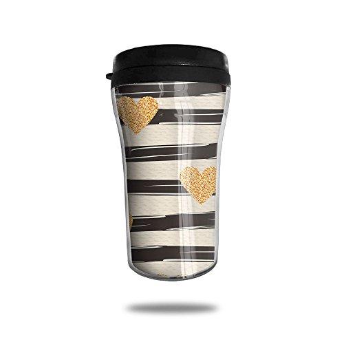 Yellow Heart Pattern New Fashion 85oz Coffee Mugs Thermal Mug Cute Small Coffee Mugs Home Portable Exquisite Novelty