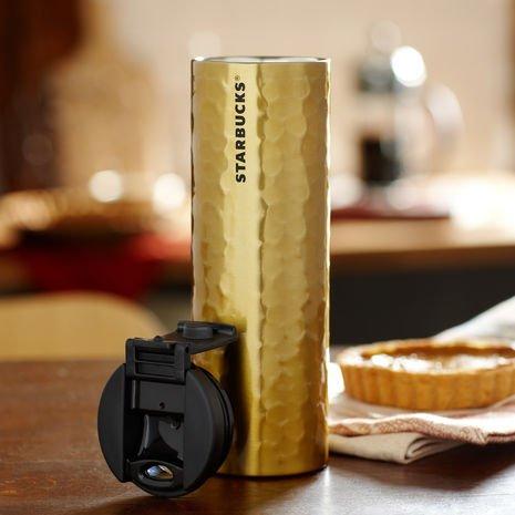 Starbucks Stainless Steel Hammered Tumbler Gold 16 oz