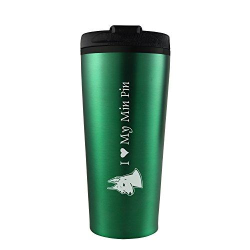 16 oz Travel Mug Tumbler -I love my Min Pin-Green