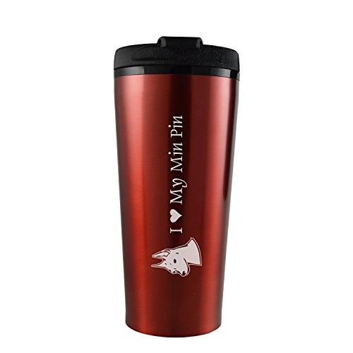 16 oz Travel Mug Tumbler -I love my Min Pin-Red