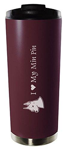 16oz Stainless Steel Vacuum Insulated Travel Mug Tumbler-I love my Min Pin-Burgundy