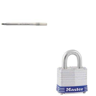 KITBICGSM11BKMLK5D - Value Kit - Master Lock Four-Pin Tumbler Laminated Steel Lock MLK5D and BIC Round Stic Ballpoint Stick Pen BICGSM11BK