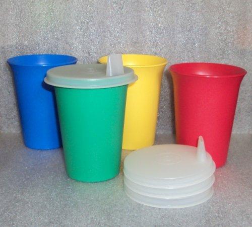 Original Classic Tupperware Bell Tumblers Primary Colors Sheer Flat Sipper Seals