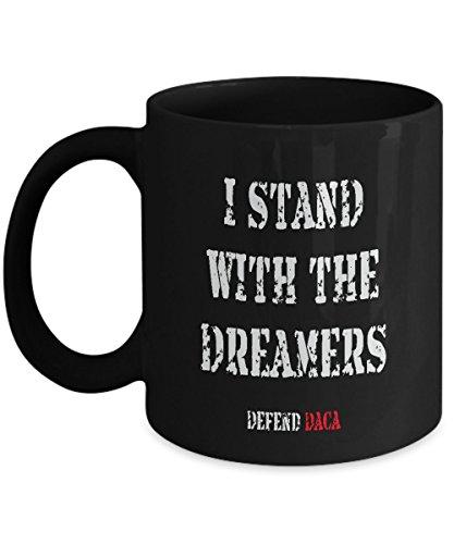 Anti Trump Pro DACA Coffee Mug - 11oz Black Ceramic Holiday Tea Cup Political Quote Saying Democrats Defend DACA Set of 1