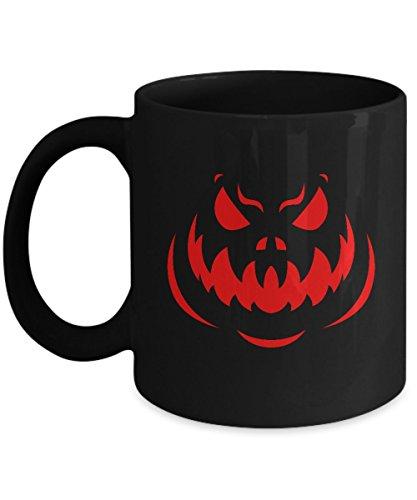 Funny Halloween Coffee Mug - 11oz Black Ceramic Holiday Tea Cup Scary Pumpkin Goblin Set of 1