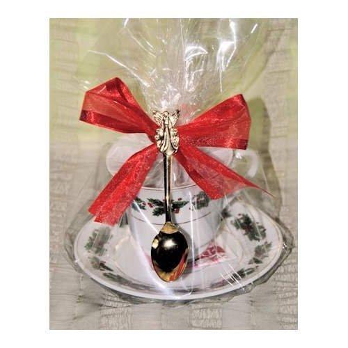 Set of 4 Tea Theme Holly Holiday Tea Cup Teacup Tea Party Favors with Tea Bag and Tea Spoon