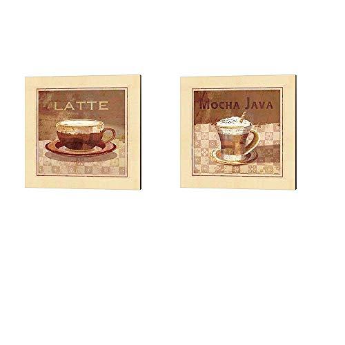 Latte Mocha Java by Linda Maron 2 Piece Canvas Art Set 10 X 10 Inches Each Kitchen Coffee Art