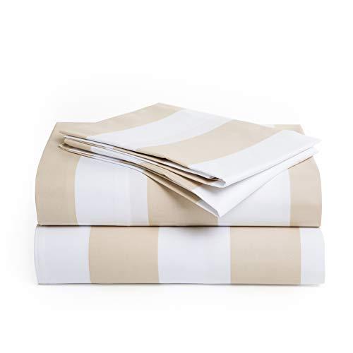 Peru Pima - 415 Thread Count Percale - 100 Peruvian Pima Cotton - California King Bed Sheet Set Wide Stripe Latte