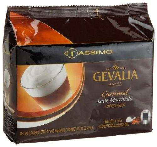Gevalia Caramel Latte Macchiato 8 Servings 16-Count T-Discs for Tassimo Coffeemakers Pack of 2