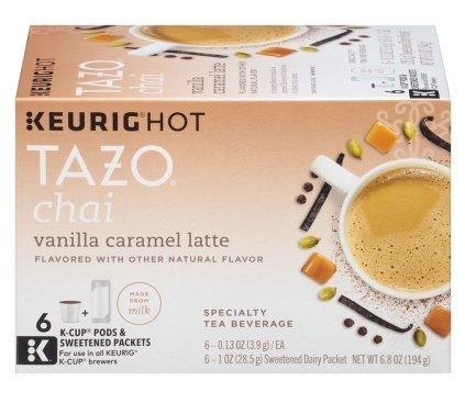 Tazo Vanilla Caramel Latte Specialty Tea 6 Keurig K-Cups  6 Froth Packets