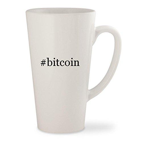 bitcoin - White Hashtag 17oz Ceramic Latte Mug Cup