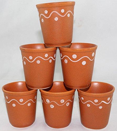 Odishabazaar Ceramic 6 Pc Kulhar Kulhad Cups Traditional Indian Chai Tea Cup Set of 6 Tea Mug Coffee Mug