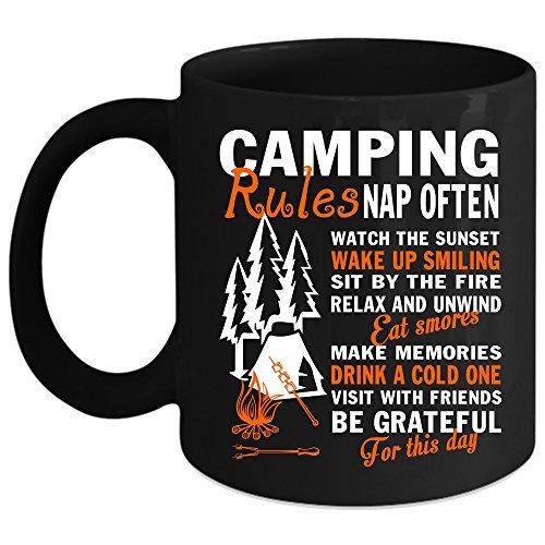 Camping Rules Coffee Mug Outdoor Coffee Cup Coffee Mug Black