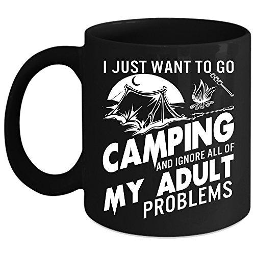 I Just Want To Go Camping Coffee Mug Outdoor Coffee Cup Coffee Mug Black
