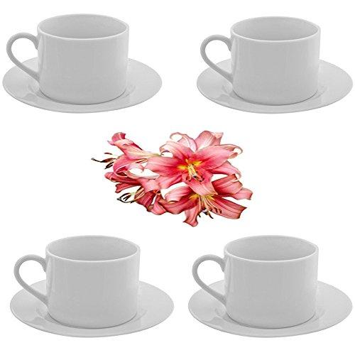 Kslong 5oz 4pcsset Pure White Porcelain Cups With Saucers CoffeeTea Cups Table tools
