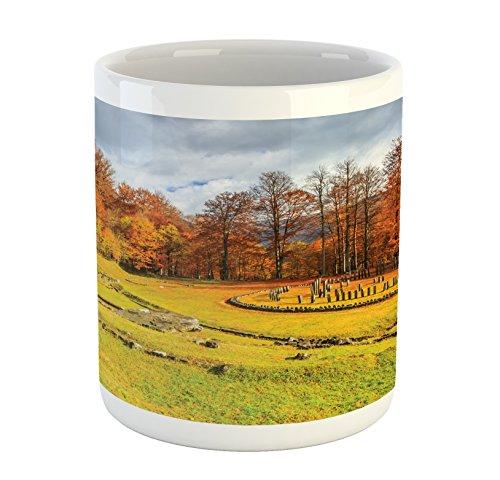 Autumn Mug by Lunarable Fall Garden Landscape in a Romanian National Park Sanctuary Peaceful Calm View Printed Ceramic Coffee Mug Water Tea Drinks Cup Orange Green